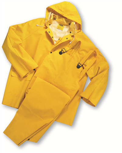 3 PIECE HEAVY DUTY YELLOW RAINSUIT RAIN SUIT 35MM SIZE X-LARGE NEW IN BAG