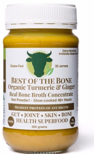 "2-Pack Organic Turmeric-Ginger-Pepper ""Best of the Bone"" grass-fed bone broth <br/> Joint Health, Gut Health, Skin Beauty - COLLAGEN Broth"