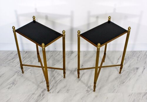 Contemporary Modern Pair of Bronze Acorn Side End Tables Granite Tops
