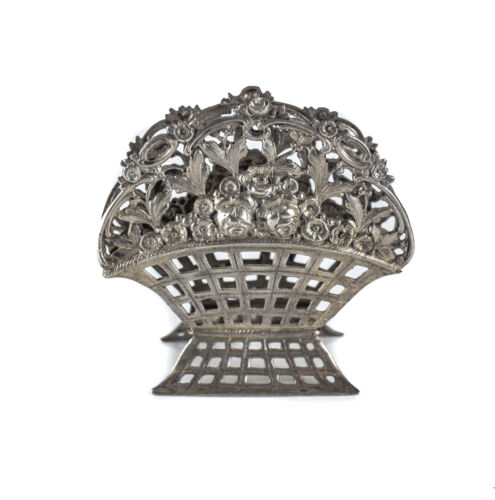 German .800 Silver hand chased repousse Letter Holder Pierced basket c1900