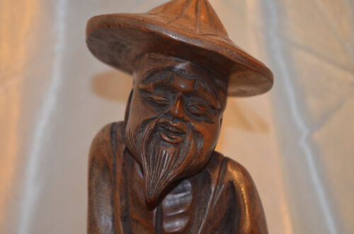 """*VTG-50s Detailed Hand carved Wood Chinese Asian Shoa Lao Statue W cane 12"""" Tall"""
