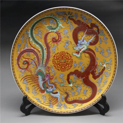 "9""Chinese Rose Porcelain painted Dragon and phoenix Plate"