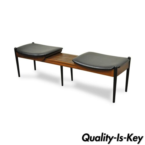 Vtg Mid Century Modern Expandable Slat Bench Two Seat Coffee Table Saltman Style