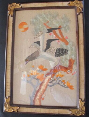 Vintage Asian Japanese Eagle on Branch Embroidery on Silk Famed & Glazed