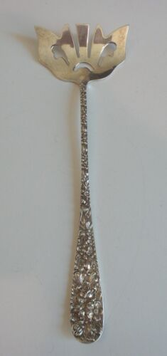 RARE STIEFF STERLING SILVER BACON FORK, REPOUSSE / STIEFF ROSE, Monogram