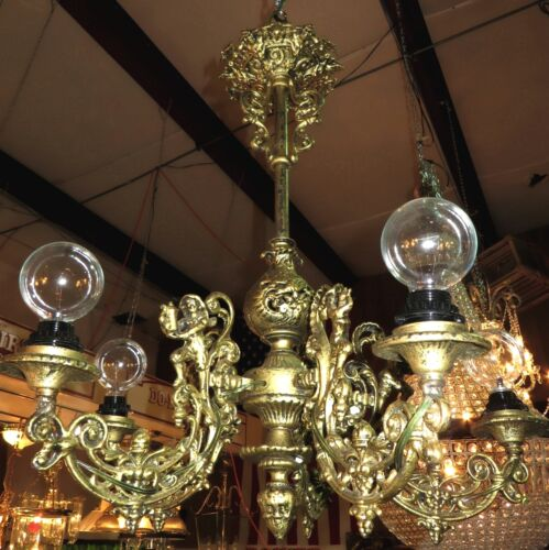 Vintage Gilt Wrought Iron Victorian Style Chandelier