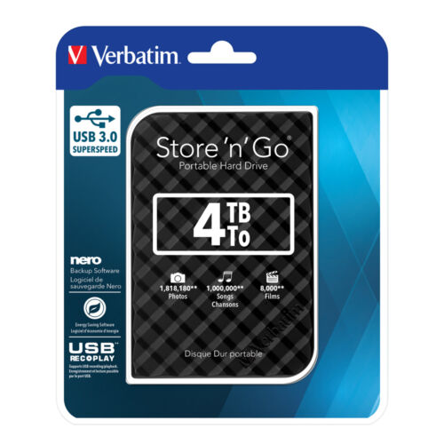 ($0 P&H) Verbatim Portable StorenGo Hard Drive Super Speed USB 3 4TB HDD # 53223
