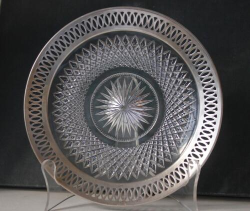 Antique Sterling Silver and Brilliant Cut Crystal Dish Gorham MFG Co. c.1930s