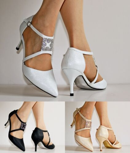 NEW Ladies Ankle Strap Party Bridal Evening Low Mid Heel Court Shoes Size 24-401