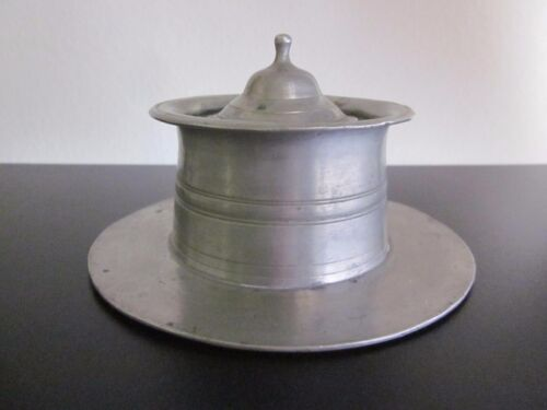 Antique Pewter Lidded Inkwell.Circa 19th Century Quill Holder Inkwell