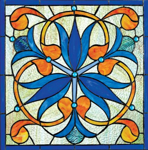 "17"" AUTHENTIC AWESOME FLOWER BLOSSOM JEWELED BLOOMS STAINED GLASS WINDOW PANEL"