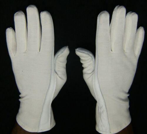 White PILOT GLOVES Leather & NOMEX AIR-FORCE Fire Resistant Dress WHITE-S,M,L,XL