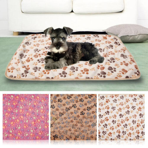 Warm Pet Mat Small Large Paw Print Cat Dog Puppy Fleece Blanket Cushion Clever