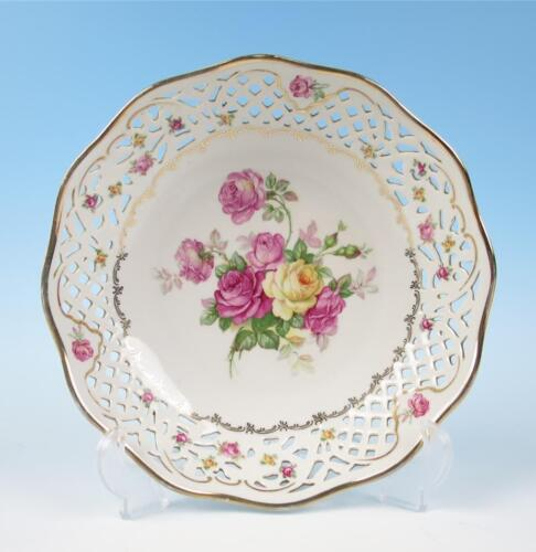 "Vintage German 9"" Reticulated Bowl Pink Yellow Roses Porcelain Dresden Schumann"