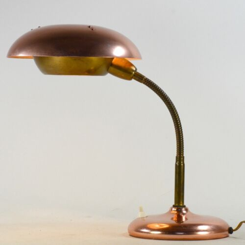 Art Deco Design red copper desk Lamp- Perzel / Schumacher / Helo style - 40's