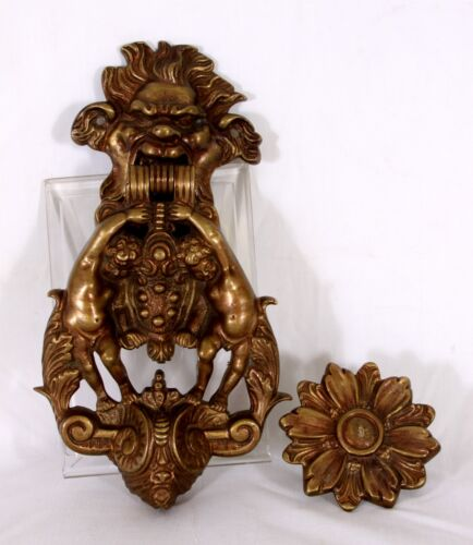Bronze French Baroque Door Knocker featuring Grotesque mask and Flower Pendant
