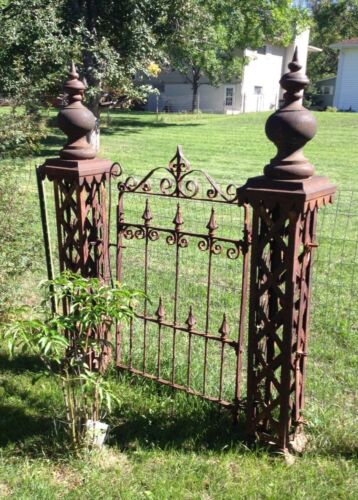 Antique WROUGHT IRON FENCE 5 POSTs AND GATE ornate ARCHITECTURAL SALVAGE 70 ft.