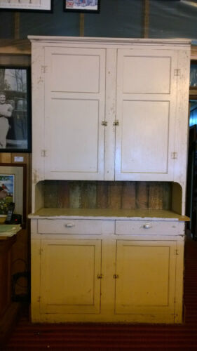 """Late 1800's Step Back Cupboard 7' 8"""" Hutch Architectural Salvage Doors & Drawers"""