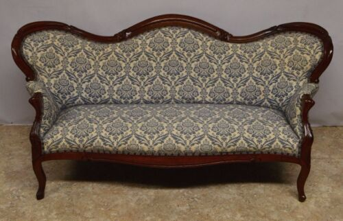 Antique Victorian Walnut Carved Rococo Revival  Sofa Couch Settee