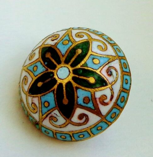 ANTIQUE DOMED ENAMEL BUTTON TURQUOISE FOREST GREEN & GOLD