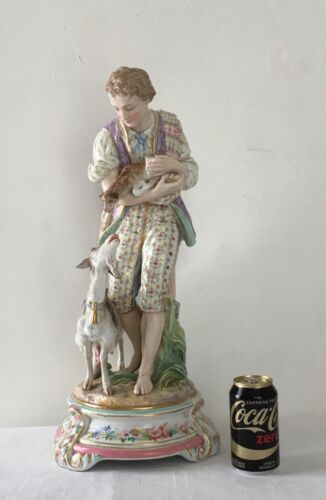 Antique Jean Gille French Pottery  Tall Figure Vion & Baury 19th Century 22""