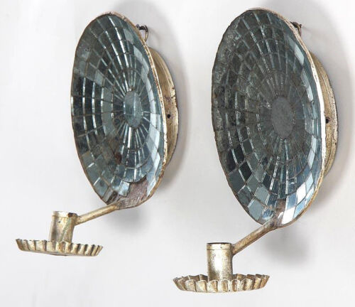 Pair of 19th c. Antique Mirror Backed Reflective Wall Sconces
