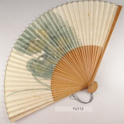 YU112 SENSU Washi Flower Japanese Fan Painting Nihonga Picture Geijyutu crafts