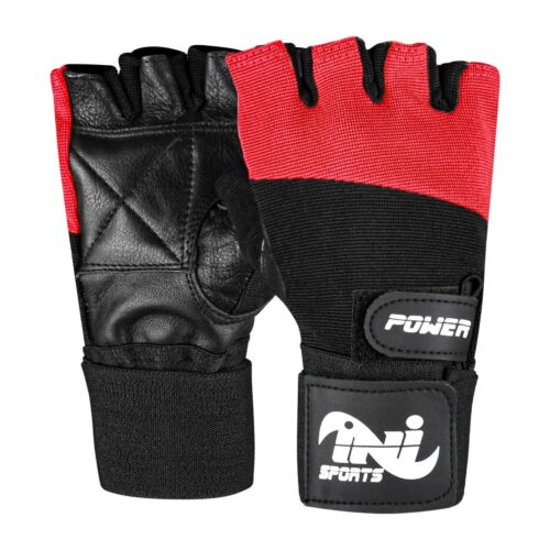 INI Leather Weight Lifting Body Building Training Fitness Strap Gloves S,M,L,XL