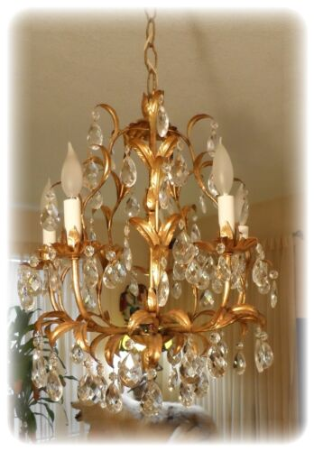 Vintage Gilt Tole Italian Gilded Chandelier With 5 Light