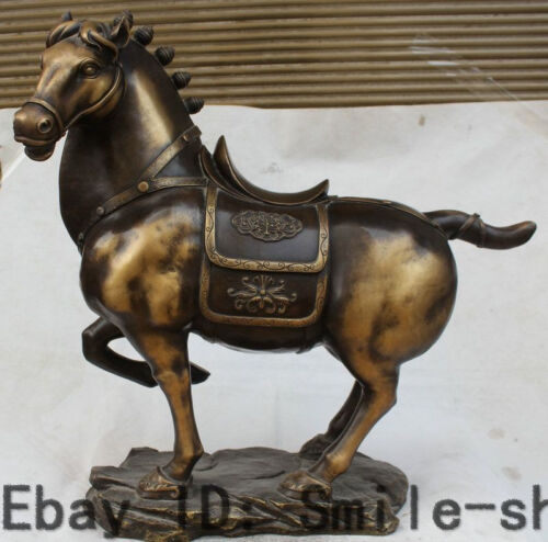 """28"""" Chinese Feng Shui Pure Bronze Zodiac Year Animal Tang Horse Flower Statue"""