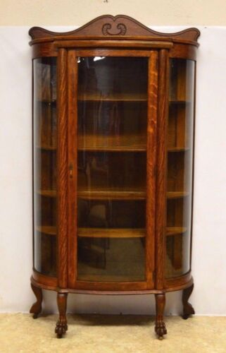 Ebert Furn Co Antique Quartersawn Oak Bowed Curved China Display Cabinet Curio