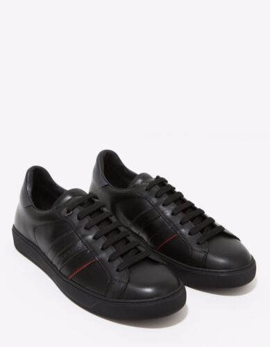 New Moncler New Gourette Black Leather Trainers RRP £310 BNWT
