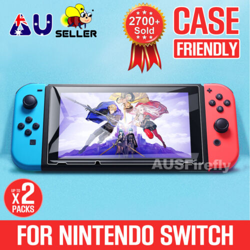 2 X NEW Nintendo Switch Tempered Glass Screen Protector for Nintendo Switch OZ