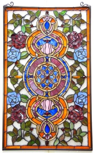 """32"""" FLOWER GAZING TO THE SKY STAINED GLASS WINDOW TIFFANY STYLE PANEL"""