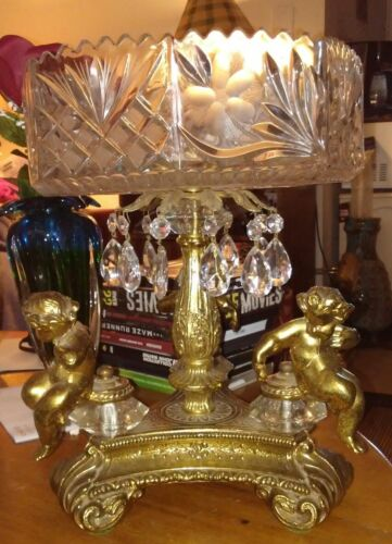 Hollywood regency cut glass and cherubs compote large serving dish