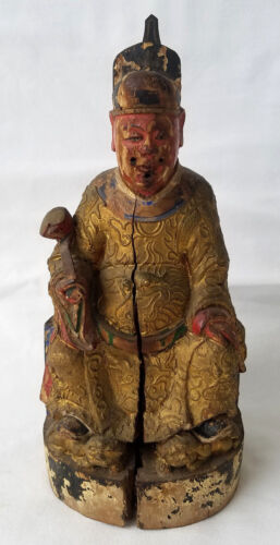 Antique Chinese Polychromed Carved Gilt Wood Emperor Figure 18th c.
