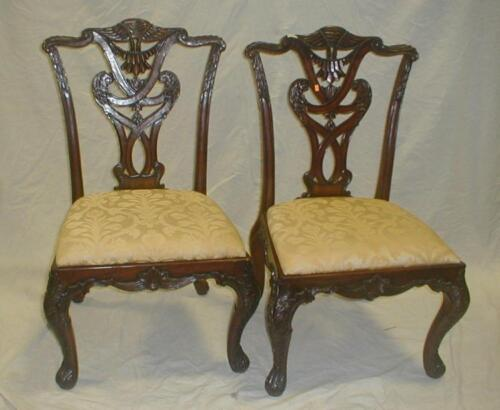 Pair of contemporary Henredon Chippendale style side chairs. Not old Lot 181