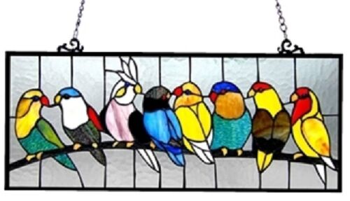 """25.5"""" Colorful BirdsLounging on Branch Stained Glass Tiffany Style Window Panel"""