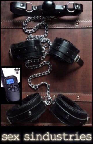 bondage kit hand cuffs gag Chained back wrist ankle Electro shackle restraints