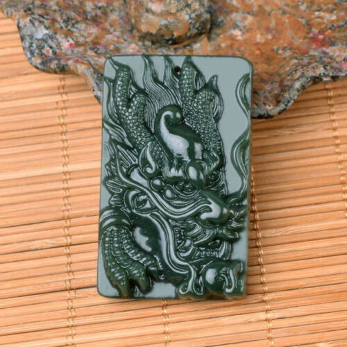 Chinese Rich Green Natural Hand-Carved HeTian Jade Pendant w Dragon