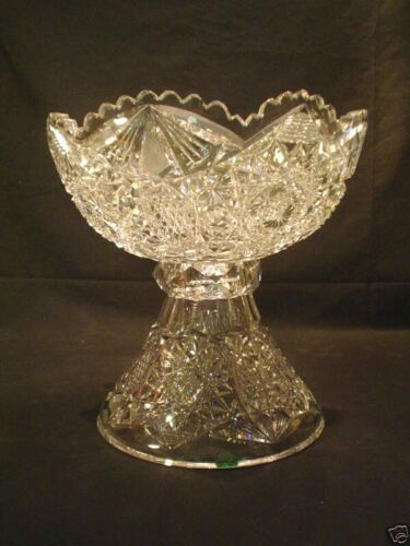AMERICAN BRILLIANT PERIOD (ABP) CUT GLASS PUNCH BOWL & STAND, c. 1880-1900