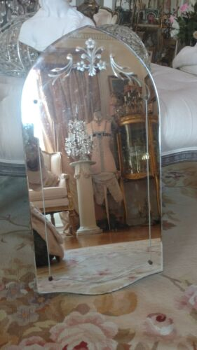 SHABBY antique vtg etched all glass venetian style mirror arched