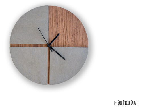 Three Quarters Concrete Circle With Wooden Hole Wall Clock - Modern Wall Clock