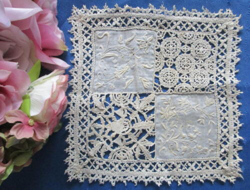 ANTIQUE HAND MADE NORMANDY/RETICELLA/BOBBIN LACE/APPENZELL EMBROIDERED SAMPLER