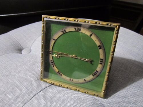 Antique Art Deco, Swiss Made Bronze Caldwell Style Desk Clock, Working!