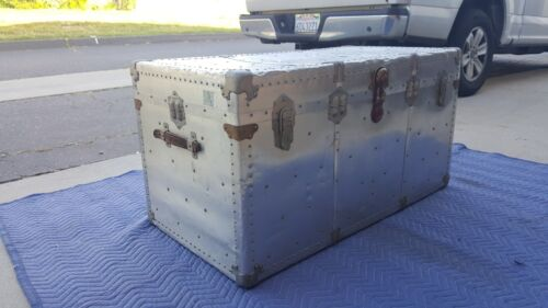 Vintage 1940's Industrial Aluminum Riveted Aircraft Trunk  Restoration Hardware