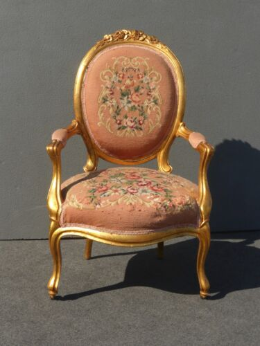 Large Vintage French Provincial Gold Pink Tapestry ACCENT CHAIR Rococo Louis XVI