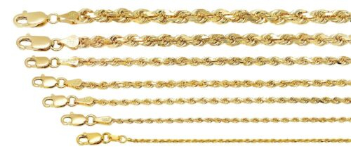 """10K SOLID YELLOW GOLD 1MM-5MM MEN'S WOMEN ROPE CHAIN NECKLACE SIZE 16""""-36"""""""