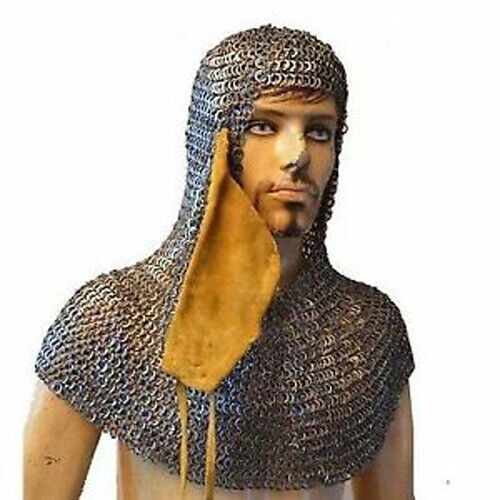 Flat Wedge Riveted Chain Mail Hood Maille Coif Wedge Riveted Reenactment & Reproductions - 156374