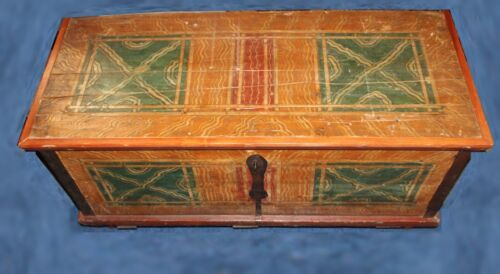 Antique Hand-Painted Pine Trunk - 19th Century Decorated Dower Chest